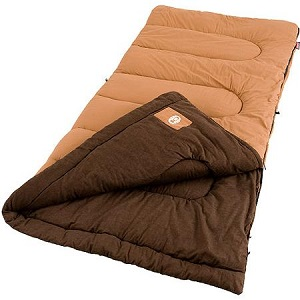 Coleman Dunnock Big and Tall Cold Weather Cotton Flannel Camping Sleeping Bags for Big Guys Adults.